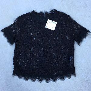 Zara M/L Lace Fully zipped back black Blouse Top